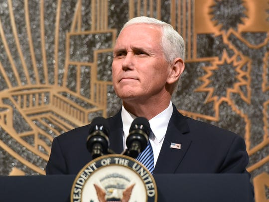 U.S. Vice President Mike Pence speaks at the culmination of a faith unity walk, held to help the community heal after Sunday's mass shooting, at Las Vegas City Hall on October 7, 2017 in Las Vegas, Nevada.