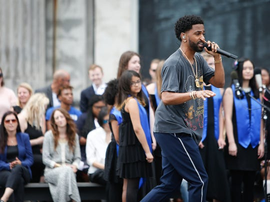 Big Sean performs during Ford's Michigan Central Station