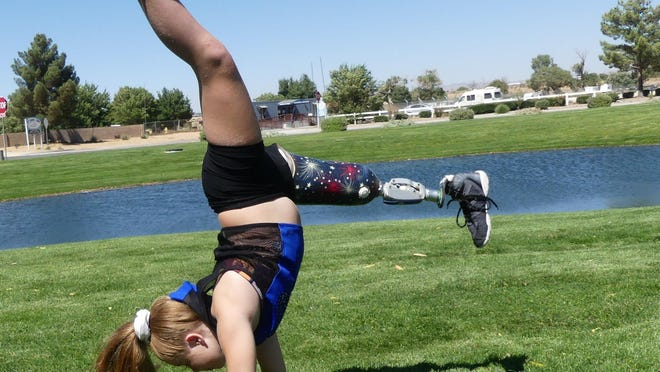 "The gymnastic skills of Yermo resident Mikenzie Adams, 10, are featured in Nike's ""You Can't Stop Us"" Nike ad, which also features elite athletes such as LeBron James and Serena Williams."