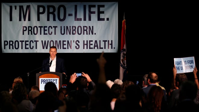 Missouri Gov. Eric Greitens speaks at a rally in support of next week's pro-life special session on Friday, June 9, 2017.
