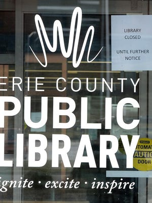 The Erie County Public Library announced March 14 that it was closing all locations, including the Blasco Memorial Library in Erie. A tiered reopening starts Wednesday with the acceptance of returns that have been in circulation for months, without fines or fees.