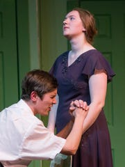 George (Cellach Allen), begs wife Charlotte (Lily Chalmers)