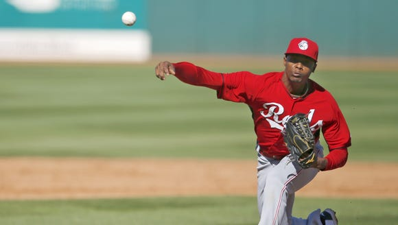 Reds pitcher Raisel Iglesias hurls.