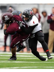 Anson wide receiver Ethan Baccus (4) tackles Abernathy