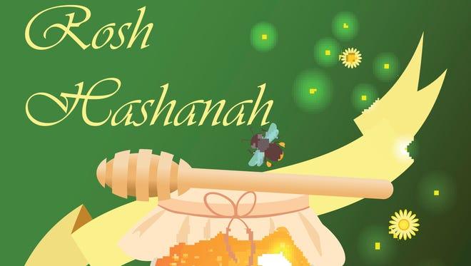Rosh Hashanah jewish new year design with hand drawing apple honey and pomegranate. Rosh Hashanah vector  design for Jewish New Year. Rosh Hashanah celebration hashanah.