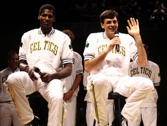 Robert Parish and Kevin McHale speak in 1993 at the