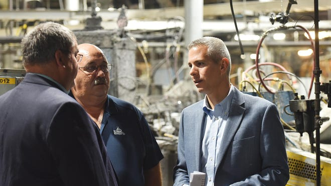 In this file photo from September 2019, U.S. Rep. Anthony Brindisi speaks with locals at Sherrill Manufacturing. Brindisi championed the passage of the Support Procurement of our Nation's Stainless Steel Act (SPOONSS Act) in the last annual defense spending bill.