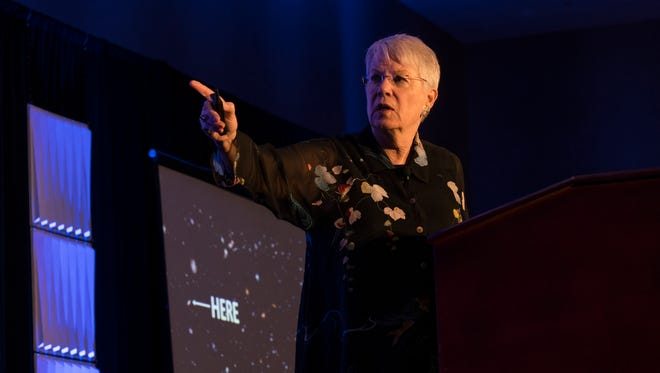 Jill Tarter speaks during the Florida Institute of Technology's third Cross Cultural Management Summit at Caribe Royale in Orlando.