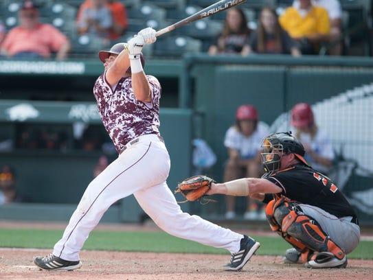 Missouri State shortstop Jeremy Eiermann hits a walk-off