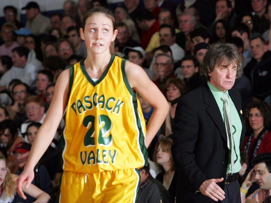 Pascack Valley player #22 Heather Zurich gets an earful from coach Jeff Jasper during a game against Northern Highlands in 2005.