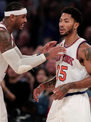 Will Derrick Rose, right, be back for Knicks practice Tuesday after not showing up for Monday nght's game?