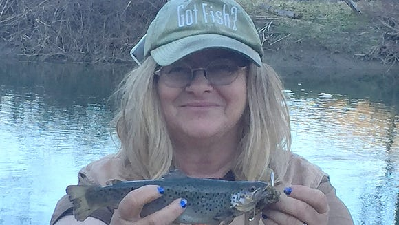 Carol caught this brown trout with her first cast Saturday.