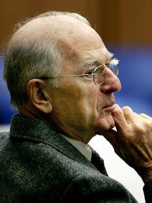 In this 2005 file photo, defrocked priest Paul Shanley listens during testimony in his trial at Middlesex Superior Court in Cambridge, Mass.