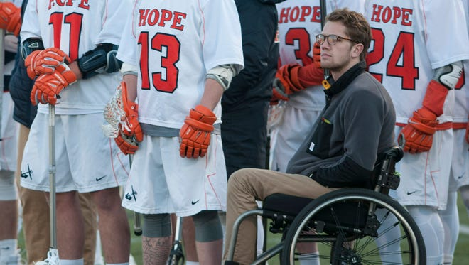 Wade Hoag on the sideline at a Hope College men's lacrosse match in the spring of 2016.