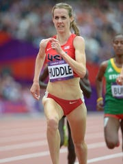Molly Huddle competes in the women?s 5,000 meter run