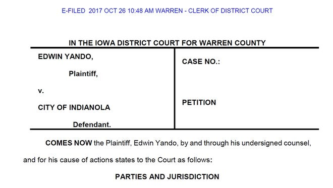 Former Indianola streets department director Ed Yando filed a lawsuit against the city of Indianola claiming he was wrongfully fired due to his age.