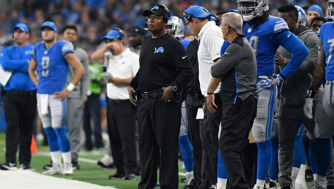 Detroit Lions head coach Jim Caldwell watches against the Arizona Cardinals during the first half of an NFL football game in Detroit, Sunday, Sept. 10, 2017. (AP Photo/Jose Juarez)
