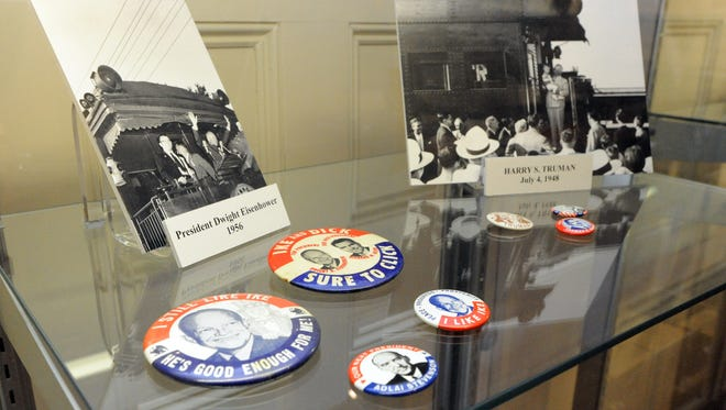 """Campaign buttons and photos of past presidents campaigning in Chillicothe are part of the """"Documenting Presidential Elections"""" display, one of the two new displays at the Ross County Historical Society for Statehood Day."""