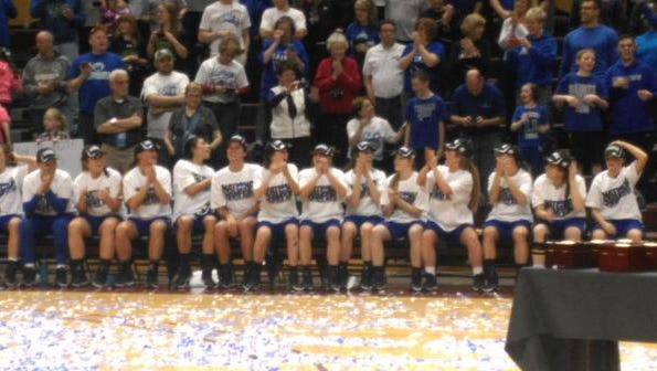 The Thomas More Saints women's basketball team celebrates its national title
