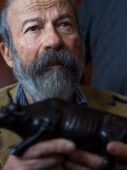 File photo taken in April 2017 shows sculptor Arturo