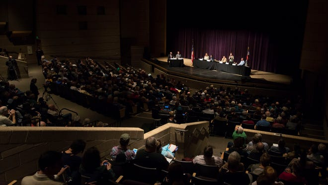 Colorado gubernatorial candidates state their case to an audience on Saturday, March 3, 2018, at Fossil Ridge High School in Fort Collins, Colo.