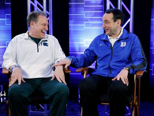 Michigan State head coach Tom Izzo and Duke head coach Mike Krzyzewski talk during an interview in 2015.