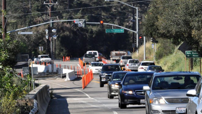 Traffic on Highway 68 coming into Salinas from Corral de Tierra during a past construction project.