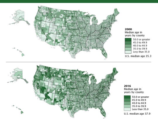 Demographic maps from the U.S. Census Bureau show populations