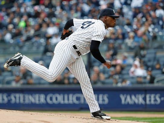 New York Yankees starting pitcher Luis Severino follows