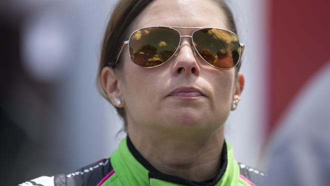 A disappointed Danica Patrick, who crashed out of the  the 102nd running of the Indy 500 on lap 67, speaks with media after being evaluated at medical facilities Sunday at Indianapolis Motor Speedway.