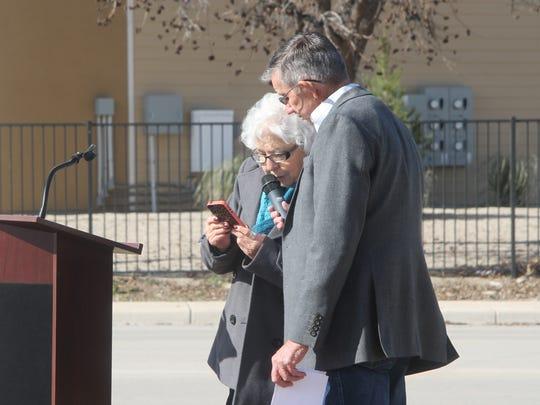 Carlsbad Mayor Dale Janway and Lydia Salcido at the dedication of the Nick G. Salcido San Jose Dark Canyon Crossing Jan. 9.