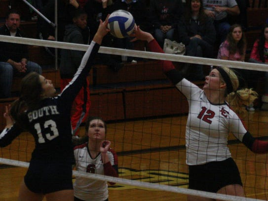 Churchill's Anne Yost got the upper-hand on this play