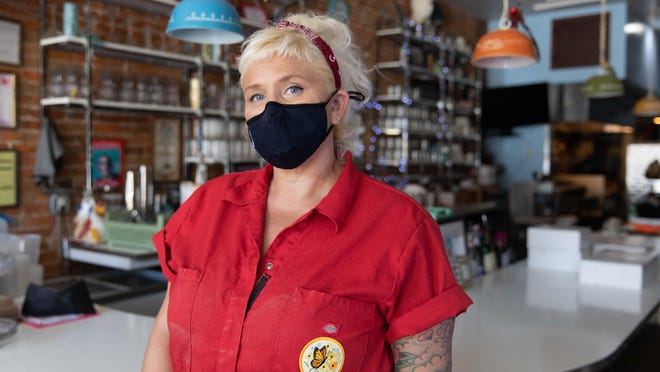 Meg Heriford, owner of Ladybird Diner in Lawrence, has found new ways to serve her community during the COVID-19 pandemic. Heriford started serving free sack lunches in March and continues to do so.