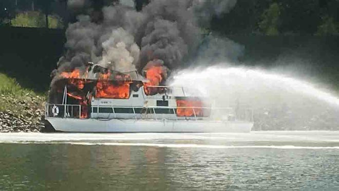 A house boat caught fire at the Clarksville Marina recently.