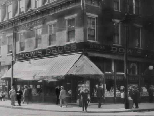 Dow's Drugs on the corner of Seventh and Vine streets in 1905 was one of 11 drugstores owned by Cora Dow.