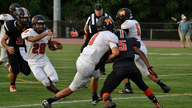 Mamaroneck running back Hector Gatica turned a short pass into big play in the second quarter on Friday, August 2, 2016, and two personal fouls by White Plains resulted in first-and-goal.