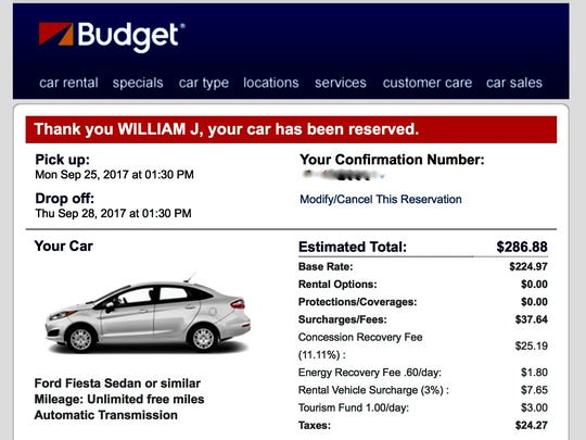 A screenshot of the Budget rental car reservation.
