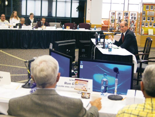 Dr. Joseph Shepard, president of Western New Mexico University, discusses economic development with the Economic and Rural Development Committee in Silver City on Tuesday. The meeting continues today at the WNMU library. Randal Seyler - Sun-News