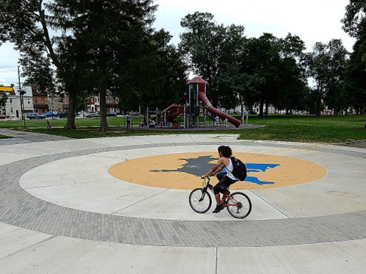"""A new splash pad will be dedicated at 1 p.m. Wednesday at Penn Park in York City. The water feature is the newest upgrade at what Bring On Play would like to make """"a true destination park"""" in the city, according to BOP committee chair Cori Strathmeyer."""