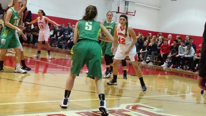 Fairfield Christian Academy's Abby Spurgus guards Newark Catholic's Laura Nowicki during a nonconference game Thursday.