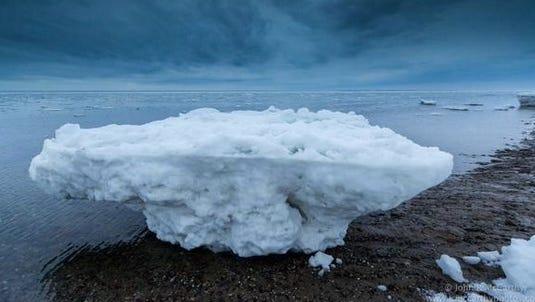 Ice chunk on Cape Cod, Mass.