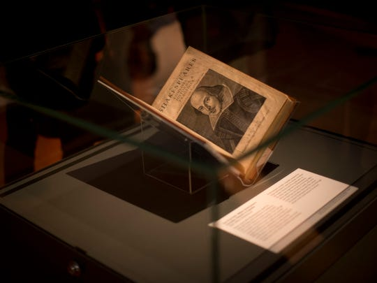 "An engraving of William Shakespeare by Martin Droeshout is displayed as part of ""The 'First Folio' William Shakespeare's Comedies, Histories, & Tragedies"" by Shakespeare dated 1623, during the press view of the ""Shakespeare: staging the world"" exhibition at the British Museum in London, Wednesday, July 18, 2012."