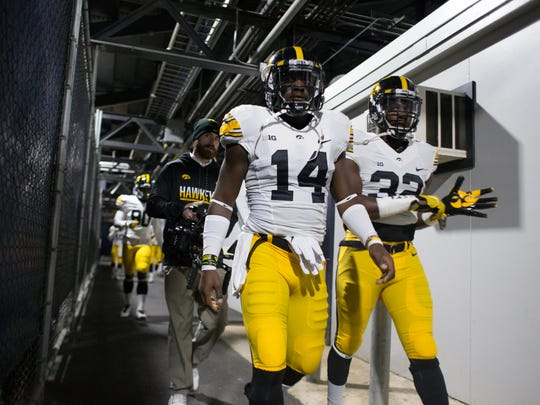 Iowa cornerback Desmond King, left, still projects