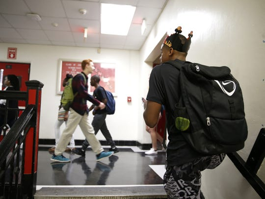 Leon High students head to their first class of the day last year.