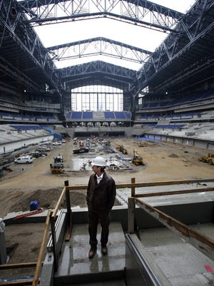 Bob May, contract manager for Hunt Construction Group, during a media tour of Lucas Oil Stadium on March 18, 2008.
