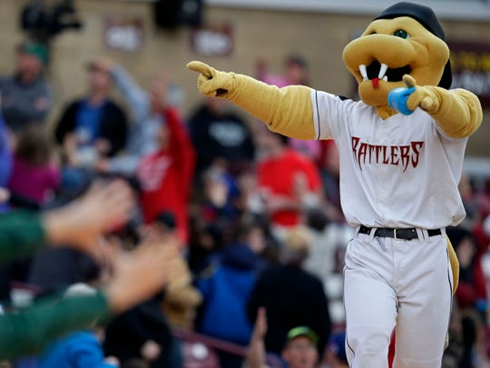 Fang works the crowd as the Wisconsin Timber Rattlers play their home opener against the Quad Cities River Bandits on April 8 at Neuroscience Group Field at Fox Cities Stadium in Grand Chute.