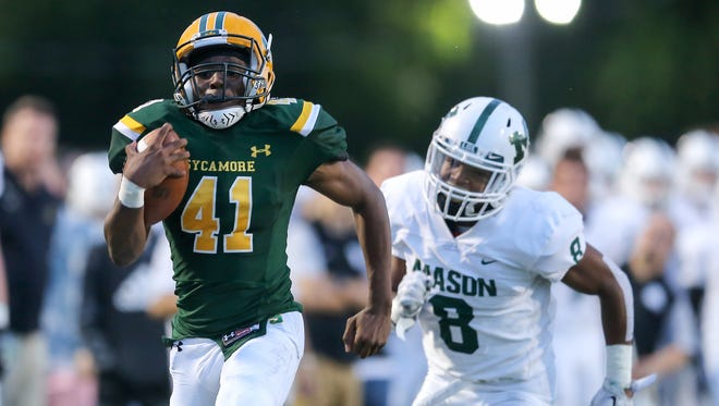 Sycamore Aviators wide receiver Myron Williams (41) runs for a touchdown after making a catch in the second quarter during the high school football game between the Mason Comets and the Sycamore Aviators, Friday, Sept. 8, 2017, at Sycamore Junior High School in Montgomery, Ohio.