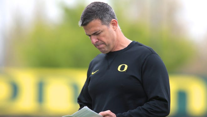 Apr 21, 2017; Eugene, OR, USA; Oregon Ducks offensive line coach Mario Cristobal  during spring practice at the Oregon Ducks outdoor practice facility. Mandatory Credit: Scott Olmos-USA TODAY Sports