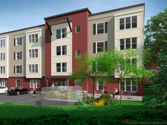 A proposed apartment building for elderly housing in downtown Essex Junction is seen in this rendering by Lincoln Brown, provided to Village planners by developer Gabriel Handy in late December 2017.