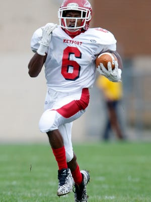 Keyport High School football team traveled into Middlesex County to take on South River in a varsity football game in South RIver on Saturday October 1, 2016.Keyport's # 6 Rayquan Brown runs toward the goal line for a kick off return for a touchdown during the 1st half of play.